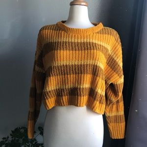 Wild fable mustard colored cropped sweater